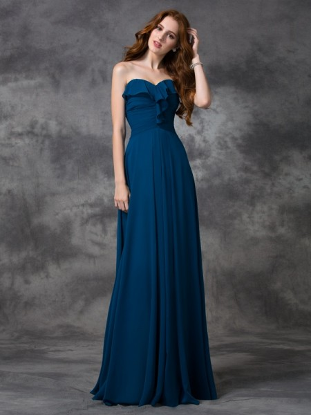A-line/Princess Sleeveless Sweetheart Floor-length Chiffon Bridesmaid Dress with Ruffles