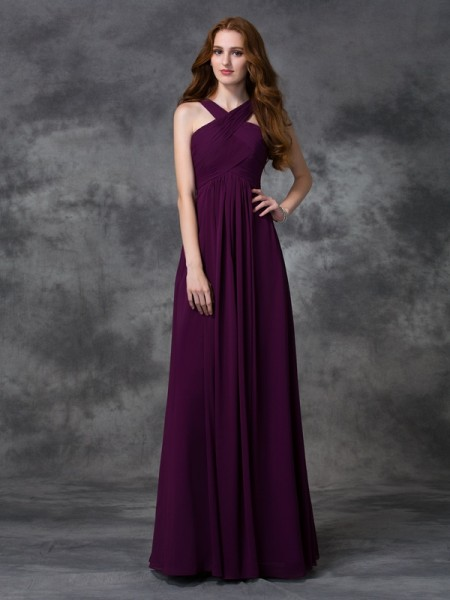 A-line/Princess Straps Sleeveless Floor-length Chiffon Bridesmaid Dress with Ruched