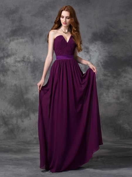 A-line/Princess Chiffon Sleeveless Sweetheart Floor-length Bridesmaid Dress with Ruched