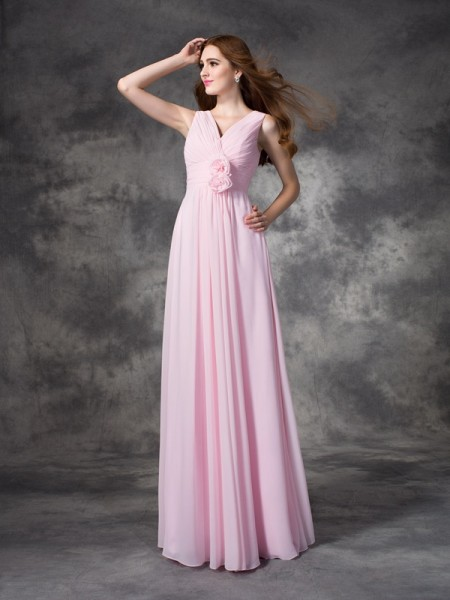 A-Line/Princess V-neck Floor-Length Chiffon Bridesmaid Dress with Hand-Made Flower