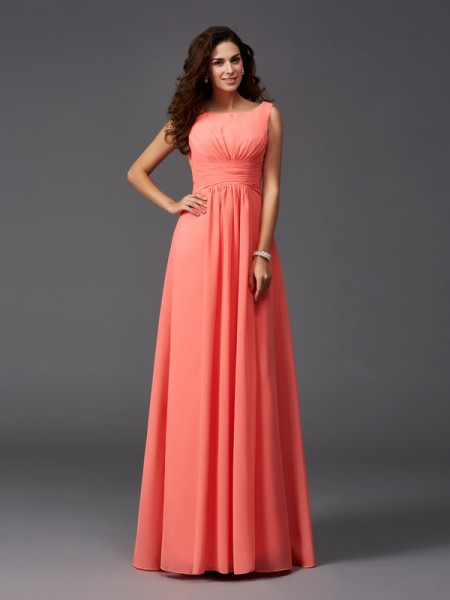 A-Line/Princess Scoop Sleeveless Sweep/Brush Train Chiffon Bridesmaid Dress with Ruffles