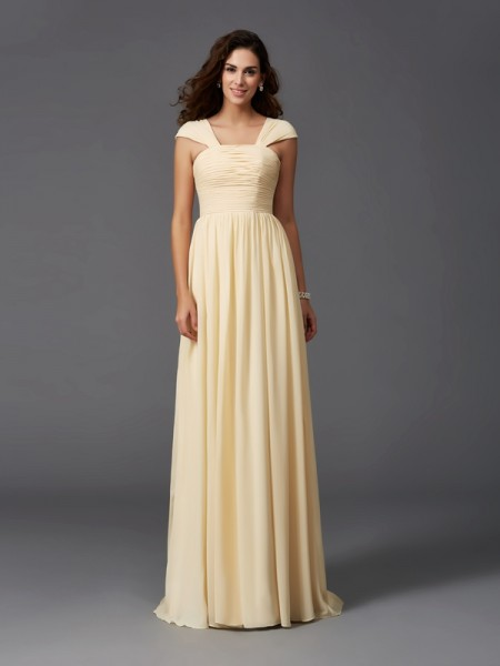 A-Line/Princess Straps Sleeveless Sweep/Brush Train Chiffon Bridesmaid Dress with Ruffles