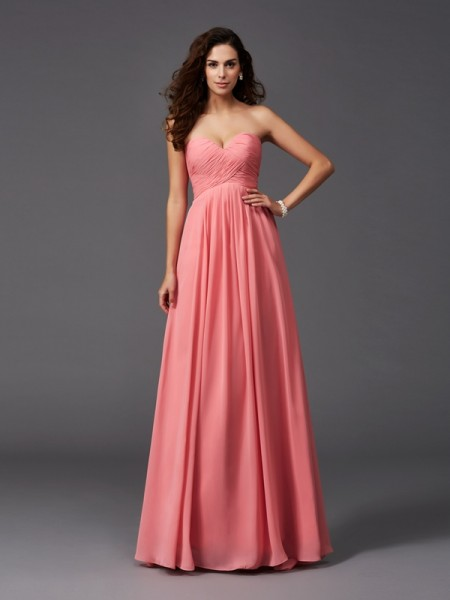 A-Line/Princess Sweetheart Chiffon Long Bridesmaid Dress with Ruffles