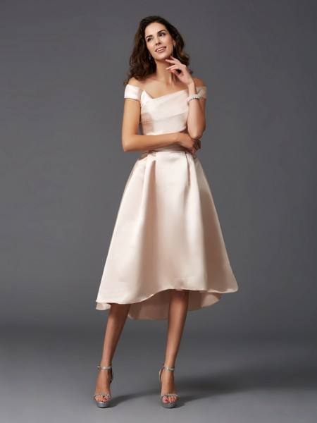 A-Line/Princess Off-the-Shoulder Sleeveless Asymmetrical Satin Bridesmaid Dress