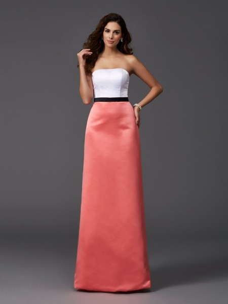 A-Line/Princess Strapless Sleeveless Floor-Length Satin Bridesmaid Dress
