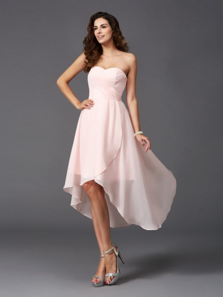 A-Line/Princess Sweetheart Sleeveless Asymmetrical Chiffon Bridesmaid Dress with Ruffles