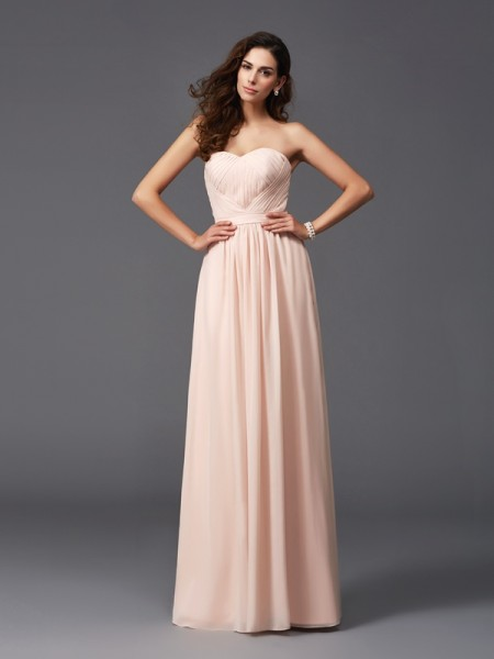 A-Line/Princess Sweetheart Sleeveless Floor-Length Chiffon Bridesmaid Dress with Pleats