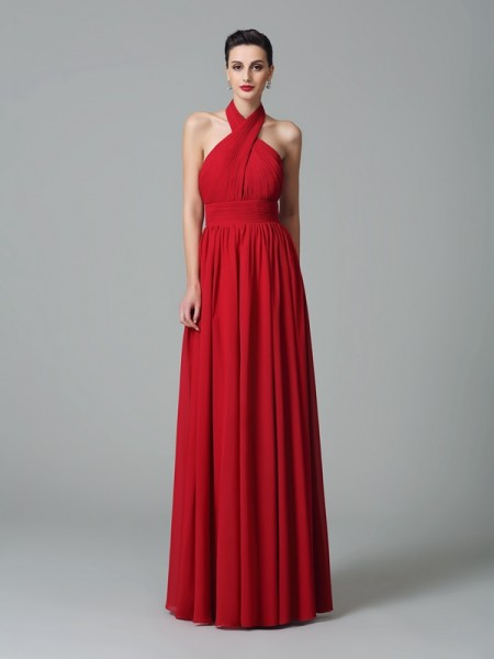 A-Line/Princess Halter Sleeveless Floor-Length Chiffon Bridesmaid Dress with Ruffles