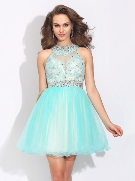 A-Line/Princess High Neck Sleeveless Short/Mini Net Cocktail Dress with Lace