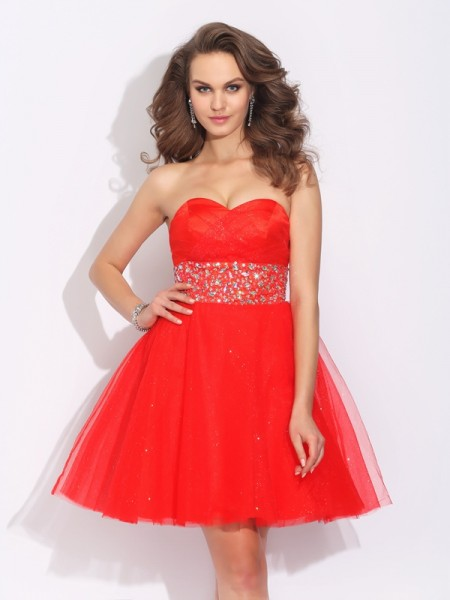 A-Line/Princess Sweetheart Sleeveless Short/Mini Net Cocktail Dress with Rhinestone