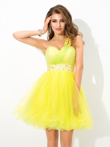 A-Line/Princess One-Shoulder Sleeveless Short/Mini Net Cocktail Dress with Beading