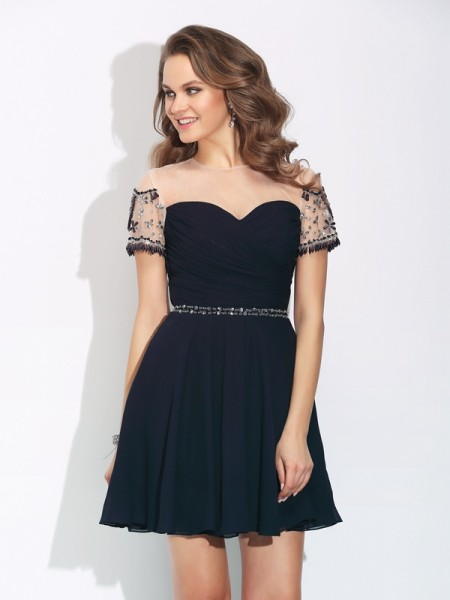 A-Line/Princess Short Sleeves Jewel Short/Mini Chiffon Cocktail Dress with Beading
