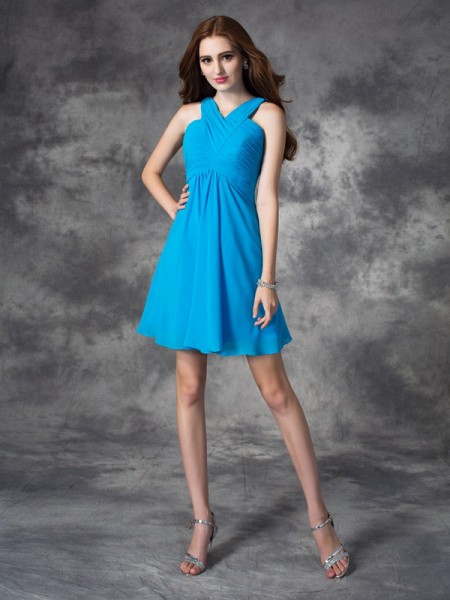 A-line/Princess V-neck Sleeveless Short/Mini Silk like Satin Cocktail Dress with Ruffles