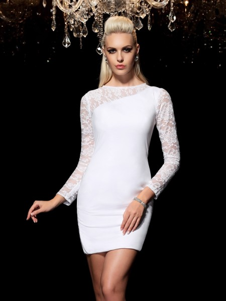 Sheath/Column Scoop Long Sleeves Short/Mini Elastic Woven Satin Cocktail Dress with Lace