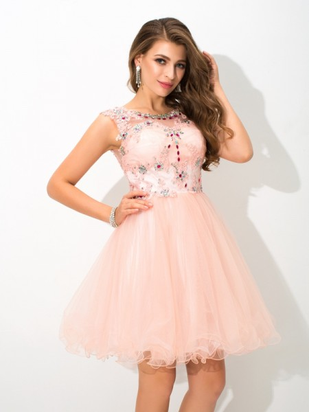 A-Line/Princess Sheer Neck Sleeveless Short/Mini Elastic Woven Satin Cocktail Dress with Beading