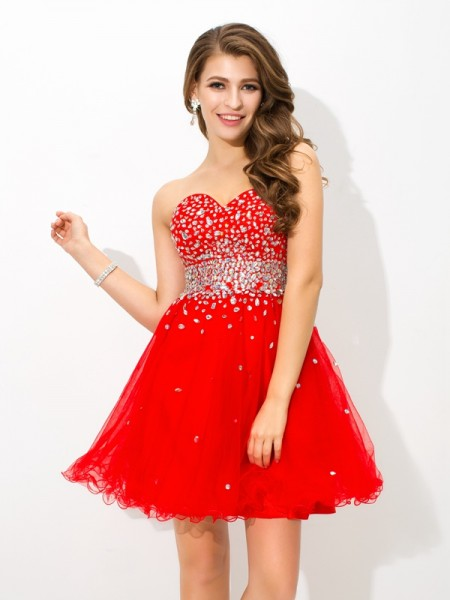 A-Line/Princess Sweetheart Sleeveless Short/Mini Organza Cocktail Dress with Beading
