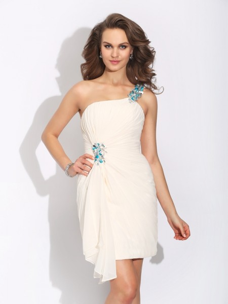 Sheath/Column Sleeveless One-Shoulder Short/Mini Chiffon Cocktail Dress with Beading