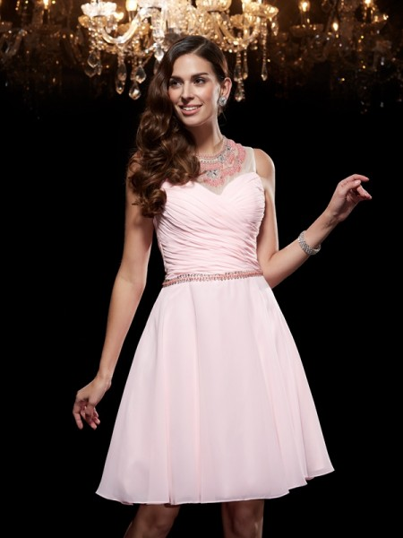 A-Line/Princess Scoop Sleeveless Chiffon Short/Mini Cocktail Dress with Beading