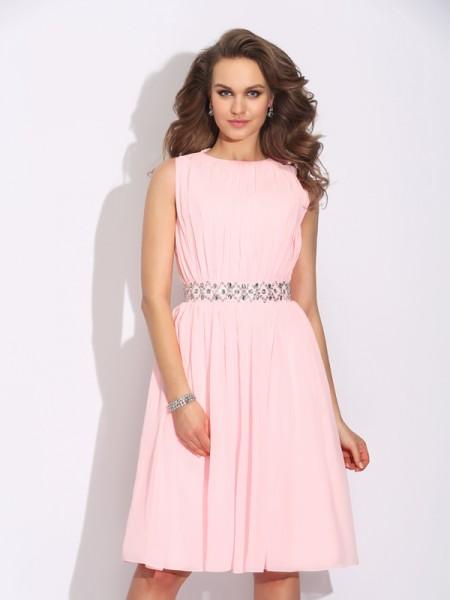 A-Line/Princess Sleeveless Jewel Knee-Length Chiffon Cocktail Dress with Ruffles