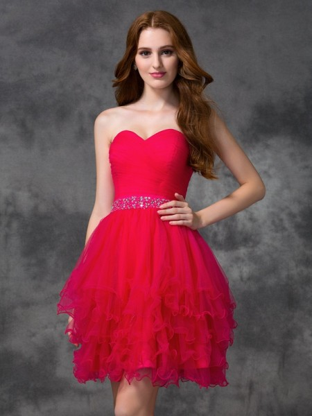 A-line/Princess Sweetheart Sleeveless Short Satin Cocktail Dress with Beading