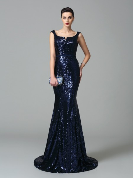 Trumpet/Mermaid Straps Sleeveless Sweep/Brush Train Sequins Evening Dress with Sequin