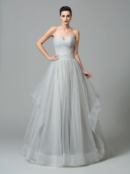 A-Line/Princess Sweetheart Sleeveless Layers Sweep/Brush Train Net Evening Dress