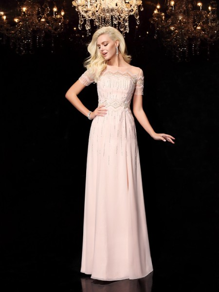 A-Line/Princess Bateau Short Sleeves Floor-Length Chiffon Evening Dress with Beading