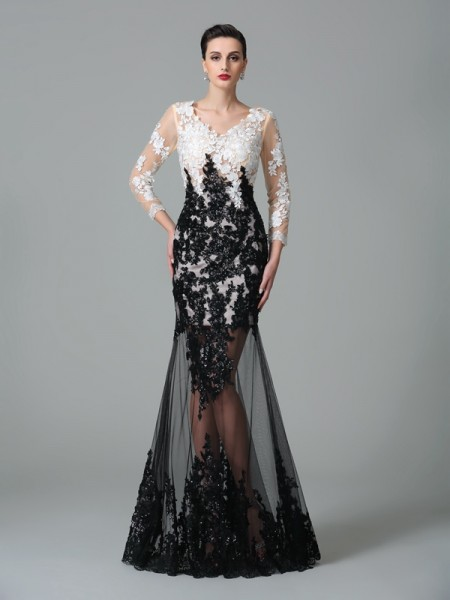 Sheath/Column V-neck 3/4 Sleeves Floor-Length Net Evening Dress with Lace
