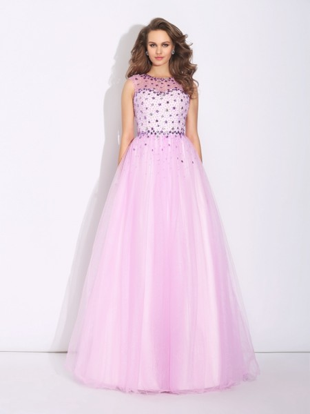 A-Line/Princess Jewel Sleeveless Floor-Length Net Evening Dress with Rhinestone