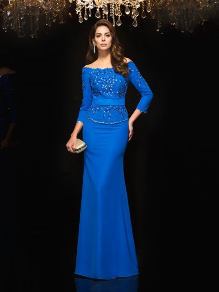 Sheath/Column Off-the-Shoulder 3/4 Sleeves Floor-Length Chiffon Evening Dress with Beading