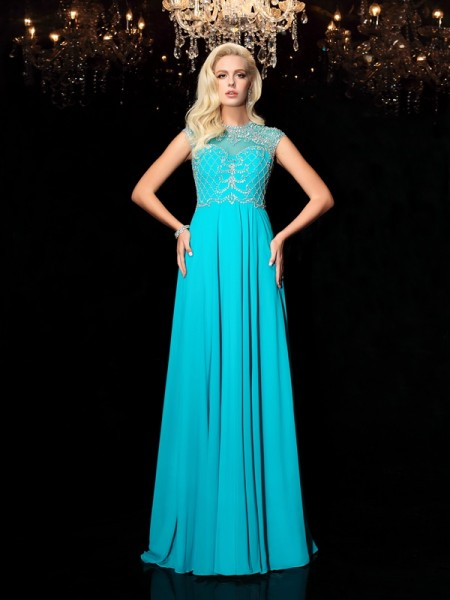 A-Line/Princess Jewel Short Sleeves Floor-Length Chiffon Evening Dress with Lace