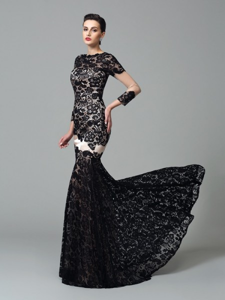 Sheath/Column High Neck 3/4 Sleeves Sweep/Brush Train Elastic Woven Satin Evening Dress with Lace