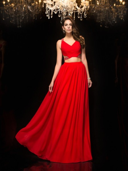 A-Line/Princess V-neck Sleeveless Chiffon Floor-Length Two Piece Evening Dress with Beading