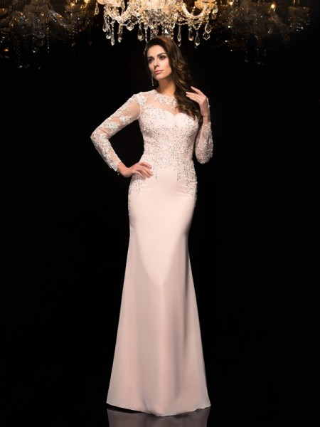 Sheath/Column Sheer Neck 3/4 Sleeves Chiffon Floor-Length Evening Dress