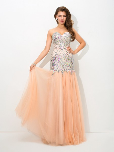 Trumpet/Mermaid Sweetheart Sleeveless Floor-Length Net Evening Dress with Beading