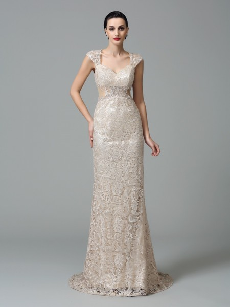 Sheath/Column Straps Sleeveless Sweep/Brush Train Evening Dress with Lace
