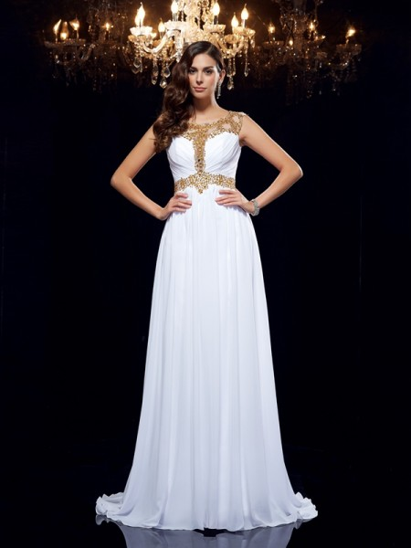 A-Line/Princess Scoop Sleeveless Chiffon Sweep/Brush Train Evening Dress with Beading