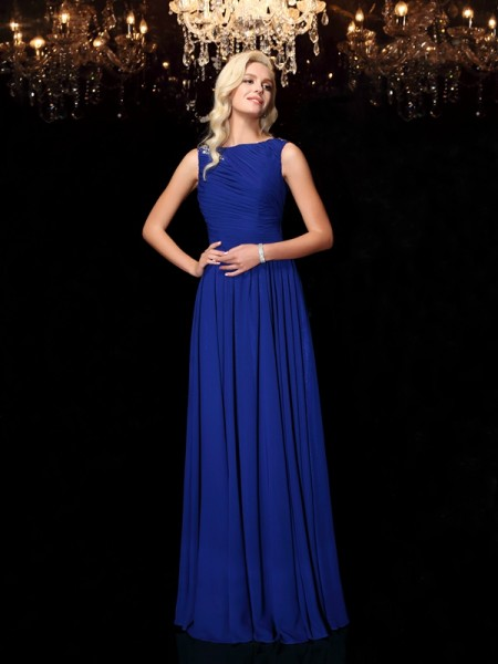 A-Line/Princess Bateau Sleeveless Floor-Length Chiffon Evening Dress with Rhinestone