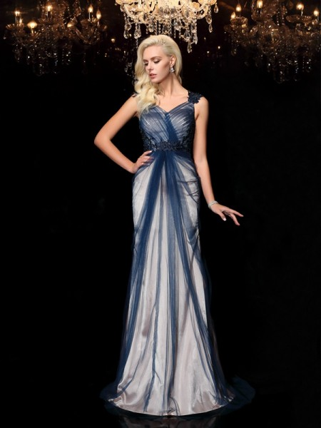 Sheath/Column Straps Sleeveless Sweep/Brush Train Elastic Woven Satin Evening Dress with Applique