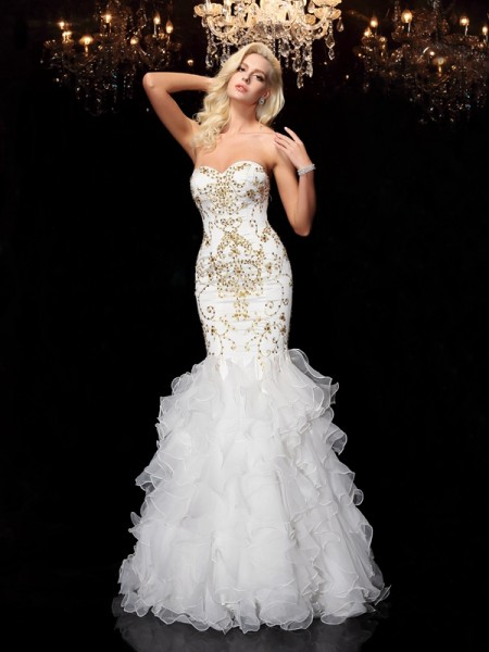 Trumpet/Mermaid Sleeveless Sweetheart Floor-Length Organza Evening Dress with Beading