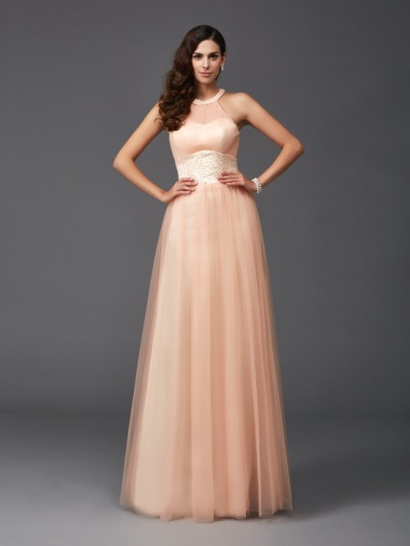 A-Line/Princess Halter Sleeveless Net Floor-Length Evening Dress with Beading