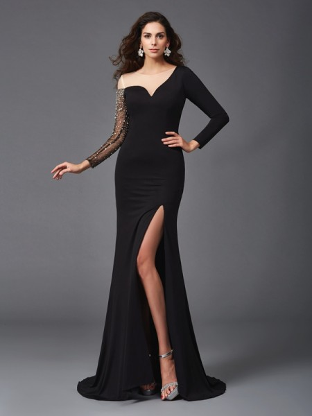 Sheath/Column Scoop 3/4 Sleeves Sweep/Brush Train Spandex Evening Dress with Beading