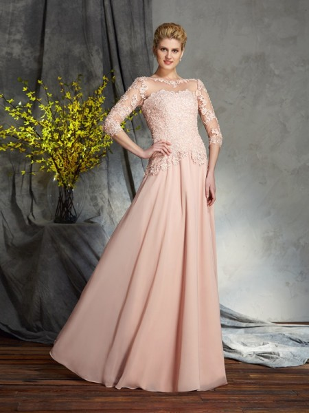 A-Line/Princess Scoop 3/4 Sleeves Chiffon Floor-Length Mother Of The Bride Dress with Applique