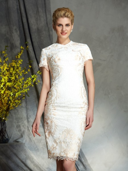 Sheath/Column Jewel Short Sleeves Short/Mini Mother Of The Bride Dress with Lace