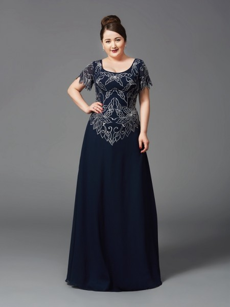 A-Line/Princess Square Short Sleeves Floor-Length Chiffon Plus Size Mother Of The Bride Dress