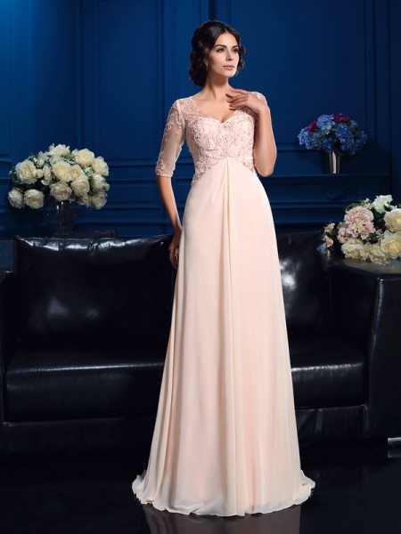 A-Line/Princess V-neck 1/2 Sleeves Sweep/Brush Train Chiffon Mother Of The Bride Dress with Beading