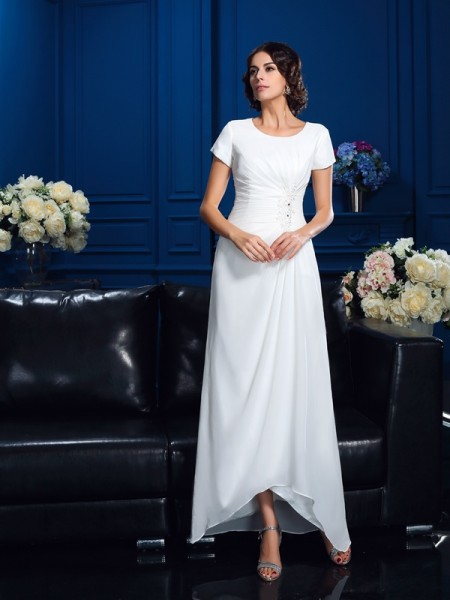 A-Line/Princess Scoop Short Sleeves Asymmetrical Chiffon Mother Of The Bride Dress