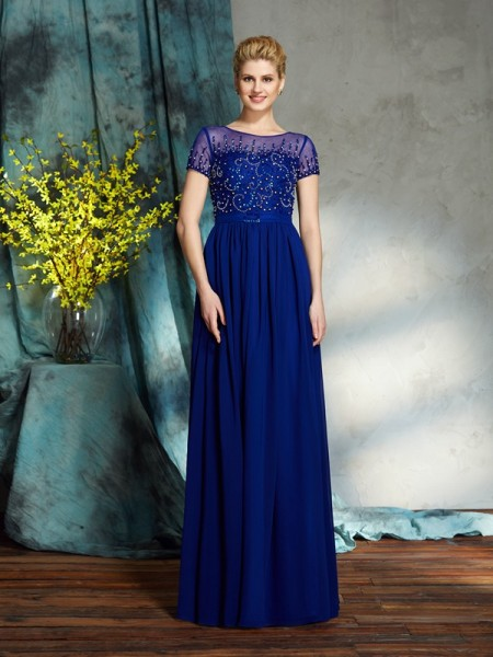 A-Line/Princess Scoop Short Sleeves Chiffon Floor-Length Mother Of The Bride Dress with Beading