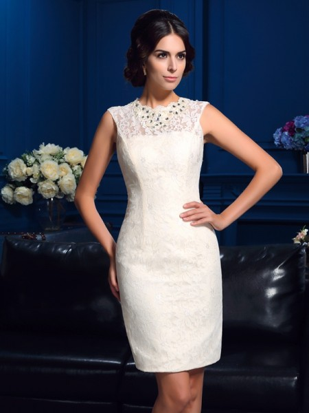 Sheath/Column Jewel Sleeveless Short/Mini Mother Of The Bride Dress with Lace
