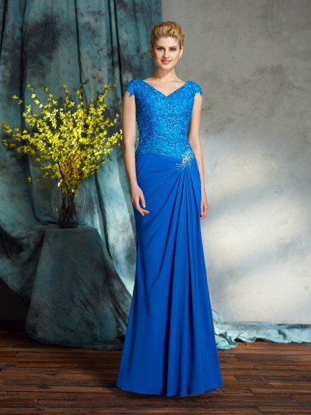Sheath/Column V-neck Short Sleeves Chiffon Floor-Length Mother Of The Bride Dress with Lace